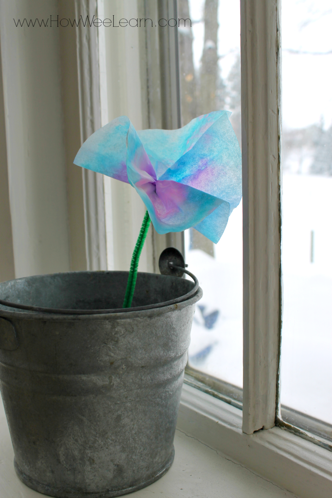 A sweet gift for Mama, coffee filter flowers!