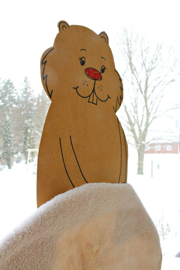A cute shadow tracing activity for groundhog day