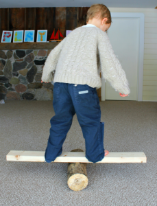gross motor activity for preschoolers - log balancing!