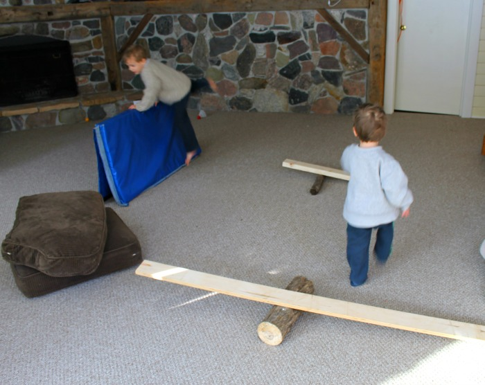 An indoor obstacle course for preschoolers to burn energy!