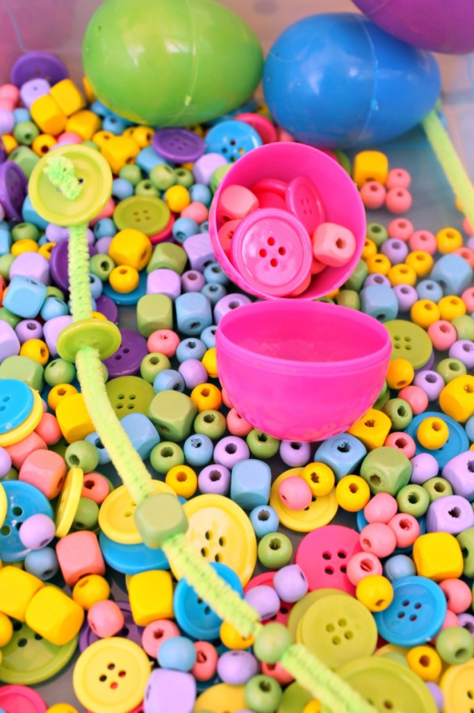 Sensory Activities for Toddlers - there are many ways to play and learn with colorful beads, buttons, pipecleaners and plastic eggs