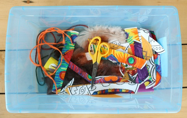 A cutting quiet box for toddlers to practice scissor skills with various materials