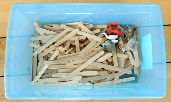 Here is popsicle stick quiet box idea. My kids used it to build paddocks for their farm animals, but the possibilities are endless!