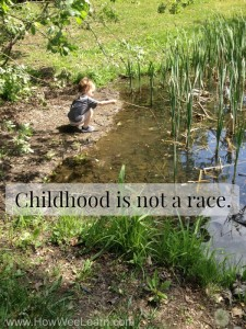 A free printable poster, childhood is not a race.