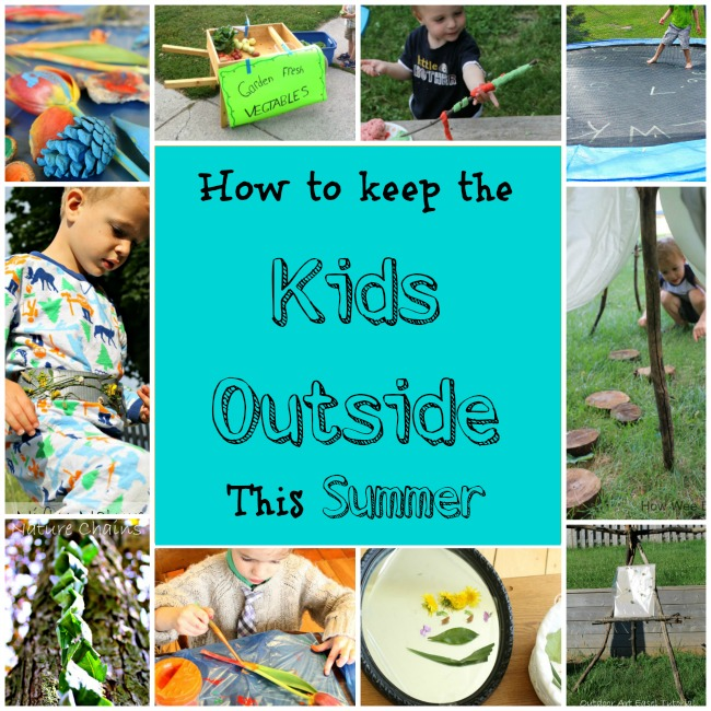 collage of ideas for outdoor summer play