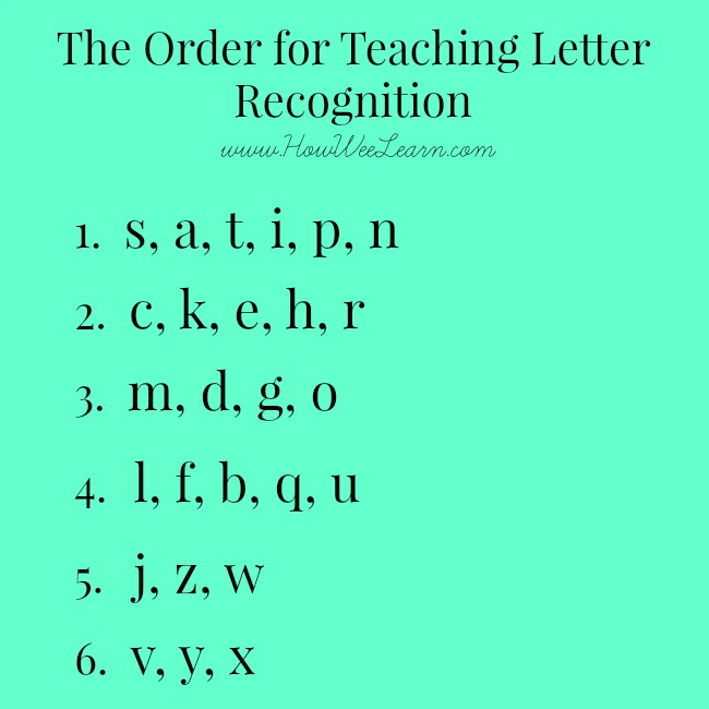 The order for teaching letter recognition to kids, perfect for teaching the alphabet to preschoolers. #alphabet #preschool #preschoolactivities #learning #kindergarten
