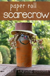 Fall crafts for kids - cardboard tube scarecrows