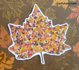 Fall crafts for kids - hole punch fall leaves