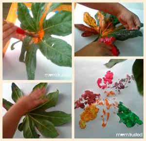 Fall crafts for kids - leaf prints