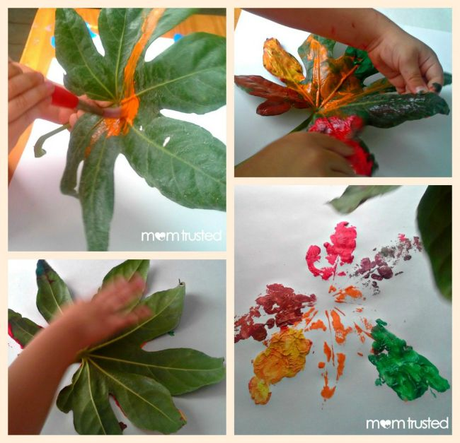 Fall crafts for kids - leaf prints