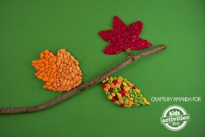 Fall crafts for kids - puffy tissue paper leaves