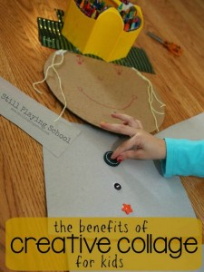 Fall crafts for kids - scarecrow collage