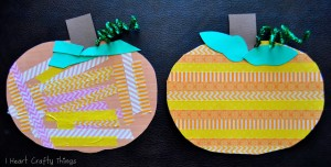 Fall crafts for kids - washi tape pumpkin