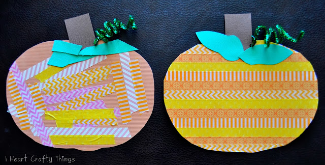 Fall crafts for kids - washi tape pumpkin