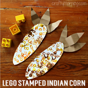 Fall crafts for preschoolers - Lego stamped corn