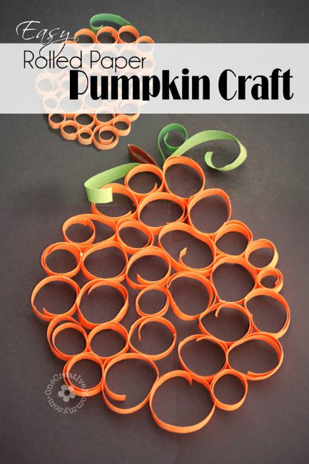 Fall crafts for preschoolers - rolled paper pumpkins