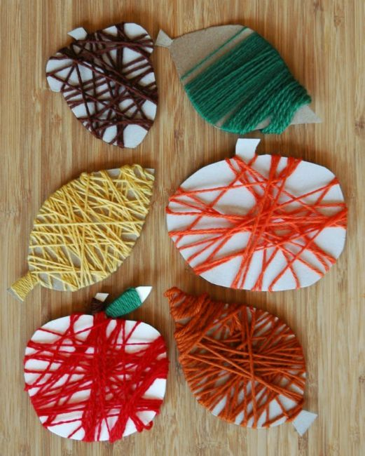 Fall crafts for preschoolers - yarn wrapping