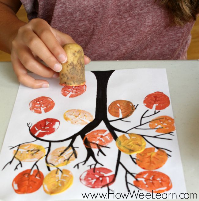 Use a potato to make beautiful fall leaves!