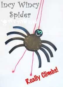 Nursery Rhymes Crafts - Climbing paper plate spider