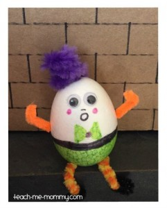 Nursery rhymes crafts - Styrofoam Humpty Dumpty