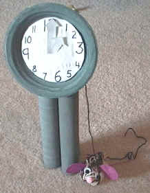 Nursery rhymes crafts - recycled clock and mouse craft