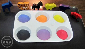 Quiet activities for toddlers - color sorting