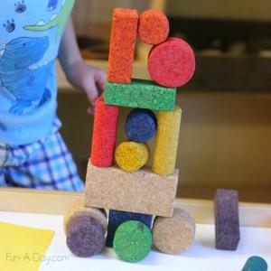 Quiet activities for toddlers - cork blocks