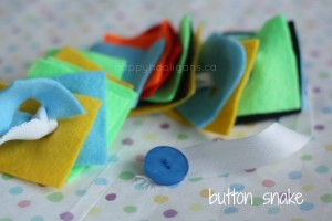 Quiet activities for toddlers - homemade button snake