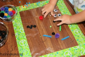 Quiet activities for toddlers - sticky art