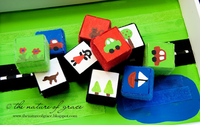 Quiet activities for toddlers - velcro blocks