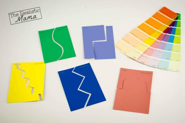 Quiet activities for two year olds - paint sample puzzles
