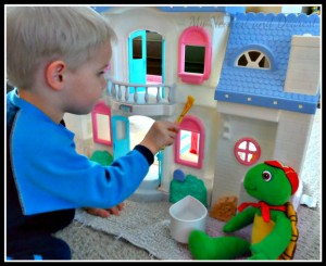 Quiet activities for two year olds - paint the dollhouse