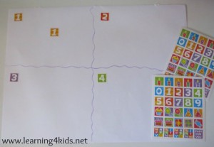 Quiet activities for two year olds - sorting stickers