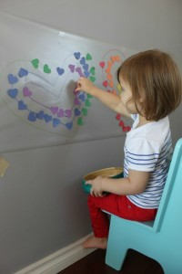 Quiet activities for two year olds - sticky wall color matching
