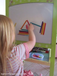 Quiet time activities for toddlers - sticky easel