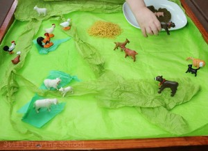 Farm theme activities - big red barn sensory small world