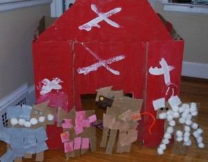 Farm theme activities - cardboard farm animals and barn art