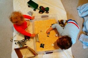 Farm theme activities - cornmeal farm bin