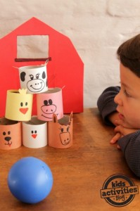 Farm theme activities - farm animal bowling game