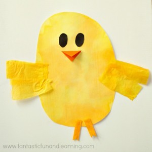 Farm theme activities - tissue paper chick craft