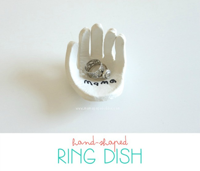 Gifts kids can make - hand shaped ring dish