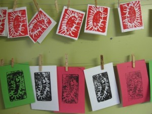 Gifts kids can make - styrofoam printed cards