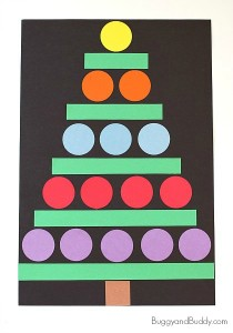 Christmas crafts for kids - Shape tree craft