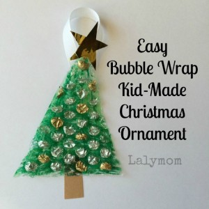 Christmas crafts for kids - bubble wrap tree