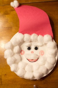 Christmas crafts for kids - cotton ball Santa