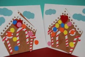 Christmas crafts for kids - gingerbread house cards