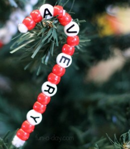 Christmas crafts for kids - name candy cane craft