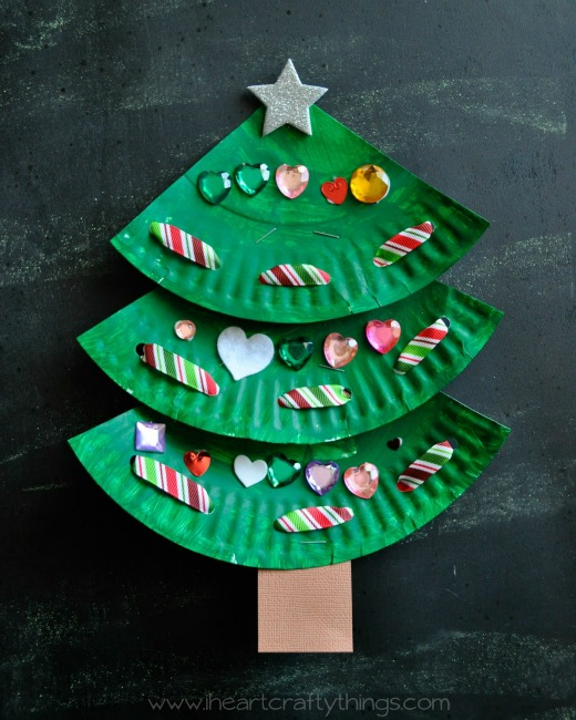 christmas crafts for kids paper plate christmas tree - Childrens Christmas Tree Decorations