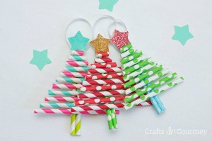 Christmas crafts for kids - paper straw ornaments