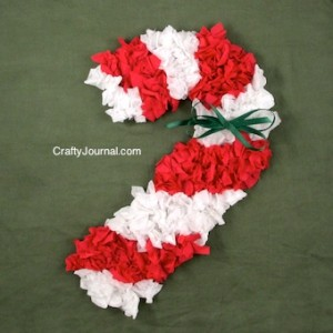 Christmas crafts for kids - scrunched paper candy cane